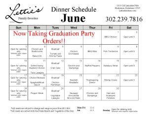 June Dinner Menu 2018