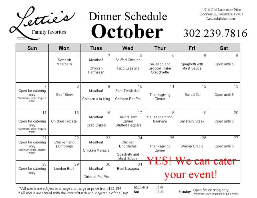 October 2018 Dinner Menu