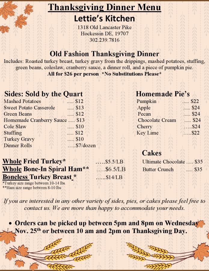 Thanksgiving Catering Menu 2020