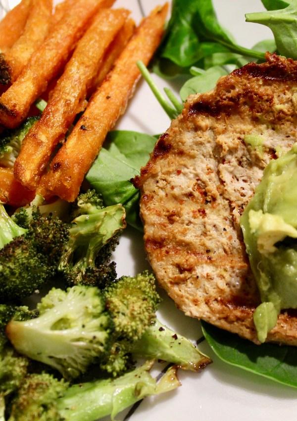 Turkey Burger, Sweet Potato Fries, & Broccoli