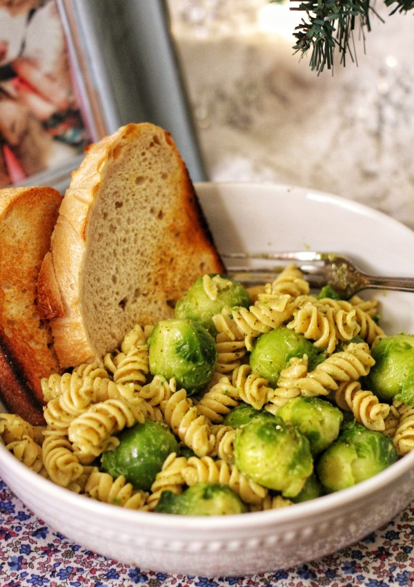 6-Minute Chickpea Pesto Pasta w/ Brussels Sprouts
