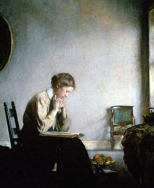 Girl reading - Edmund C. Tarbell, 1909 (Museum of Fine Arts Boston) By E Tarbell | Wikimedia Commons