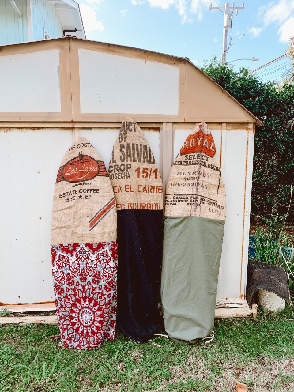 eco board bags made from coffee bean bags - boho surf accessories