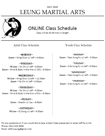 MAY 2020 Online Class Schedule