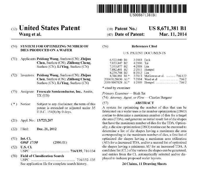 201403111 Freescale, Wang et al. - USPatent No. US 8,671,381 B1