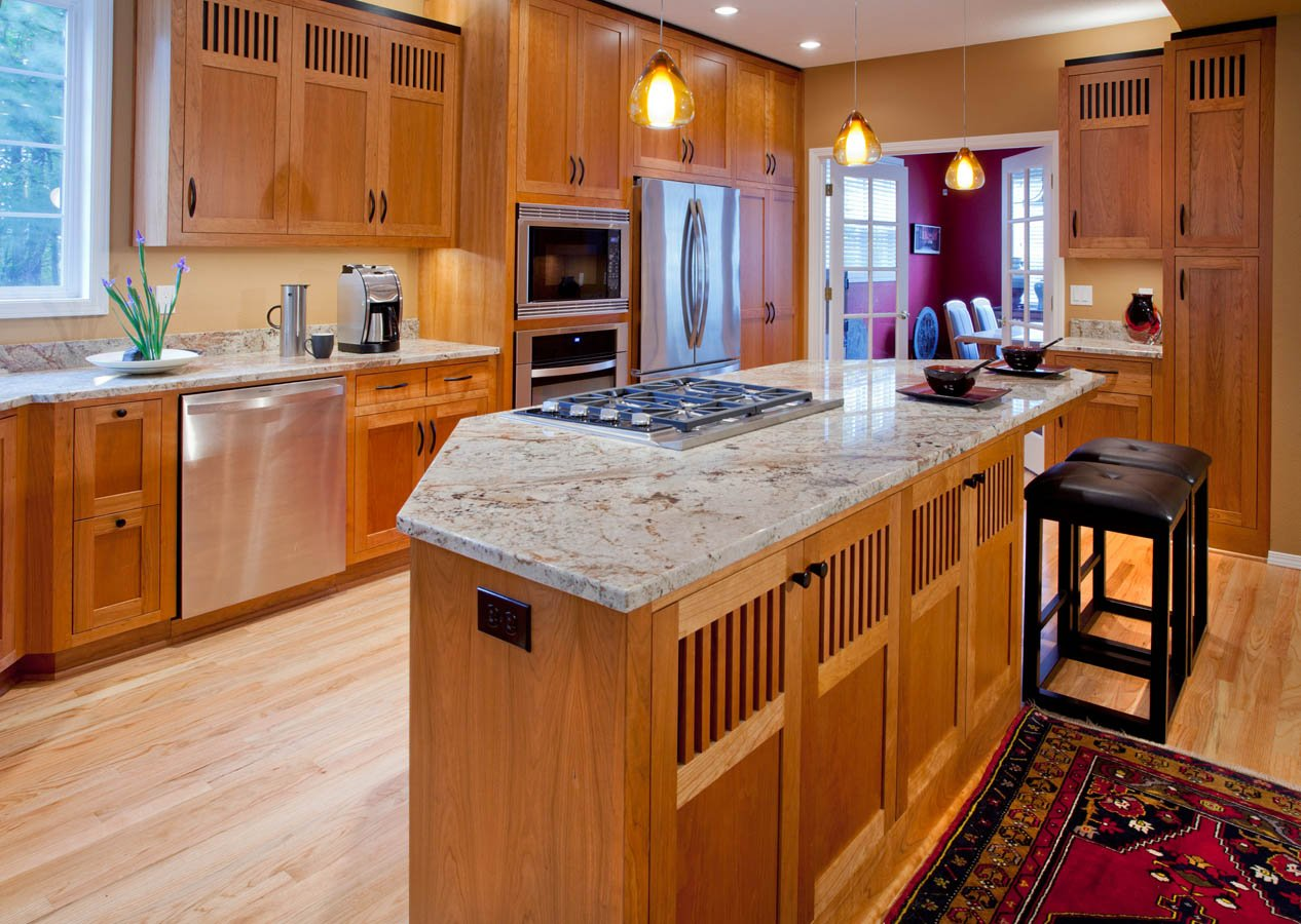 Modern-Transitional kitchen with white marble countertop