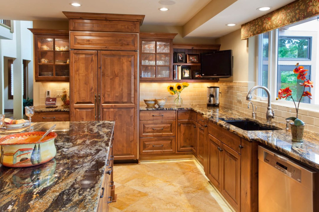 traditional style kitchen with warm tones and wood