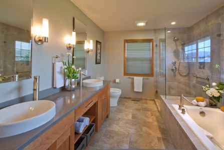 Contemporary-Asian-Flair double vanity installation in Portland