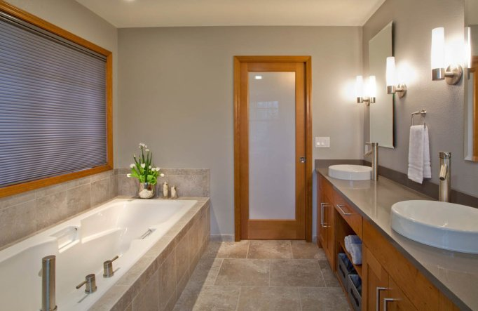 Contemporary-Asian-Flair Portland bathroom remodel