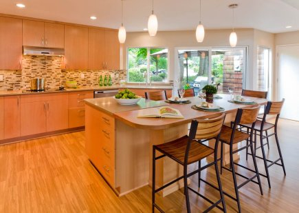 Modern-Transitional island kitchen