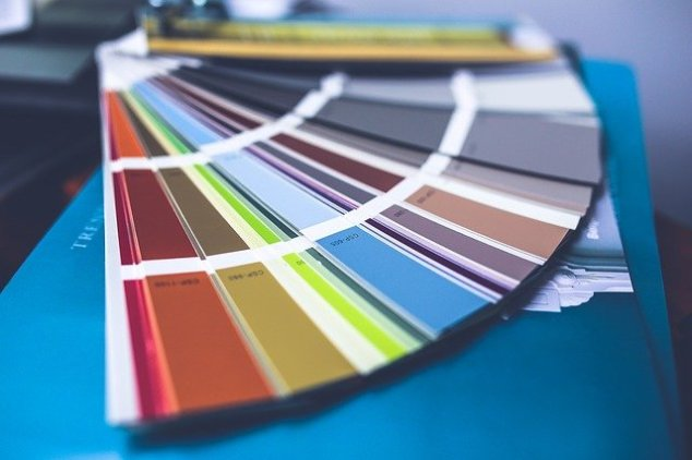Colorful paint swatches for remodel process