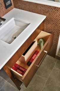 Remodeled bathroom drawers in Portland, OR