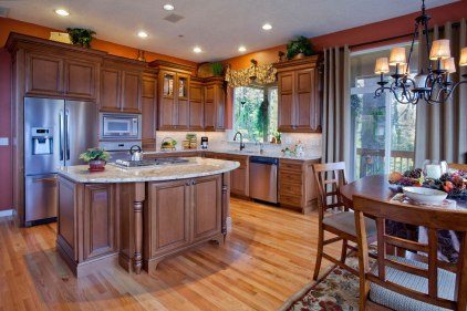 Traditional kitchen style with natural wood