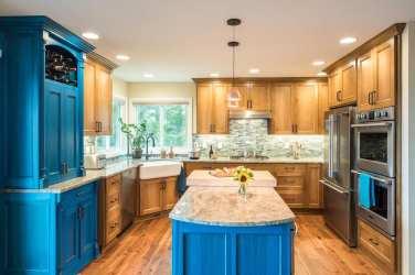 transitional kitchen remodel portland blue
