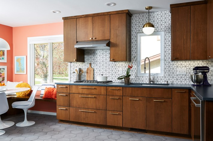 mid century modern kitchen with wood cabinets
