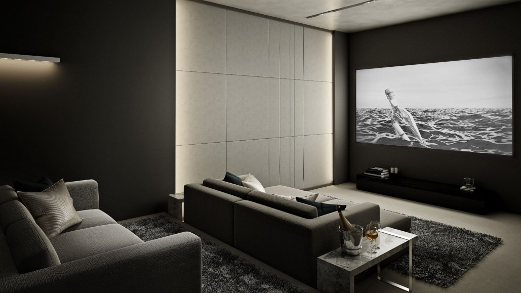 home theater with large screen