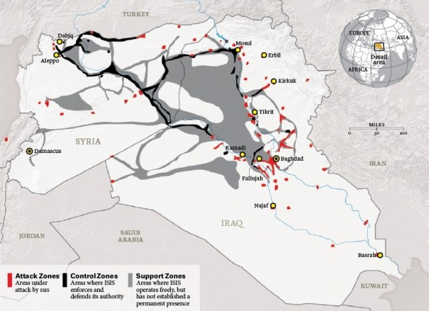 Control of territory is an essential precondition for the Islamic State's authority in the eyes of its supporters. This map, adapted from the work of the Institute for the Study of War, shows the territory under the caliphate's control as of January 15, along with areas it has attacked. Where it holds power, the state collects taxes, regulates prices, operates courts, and administers services ranging from health care and education to telecommunications.