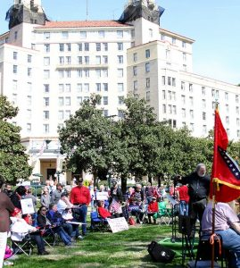 GATHERING: March 4 Trump rally attendees gather on Arlington Lawn in Hot Springs National Park Saturday morning.
