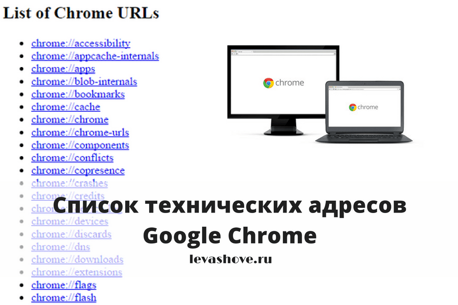 Список технических адресов Google Chrome