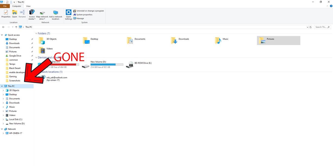 Как скрыть OneDrive из Проводника в Windows 10