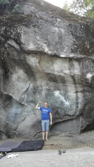 Perica in front of the famous boulder in Yosemite, I think the boulder does not need introduction