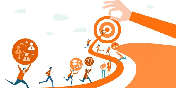 People are running to the target, which is handled by the businessman, with their strategic ideas.