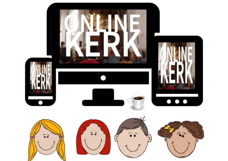 Gezin voor de buis tijdens online-kerkdienst?