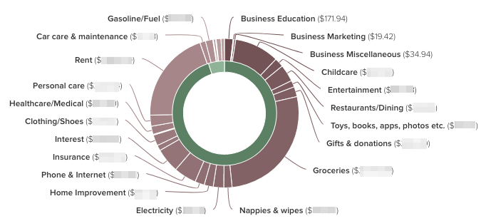 Screenshot of monthly spending on a debt free journey shown in a graph- The Leveraged Mama.