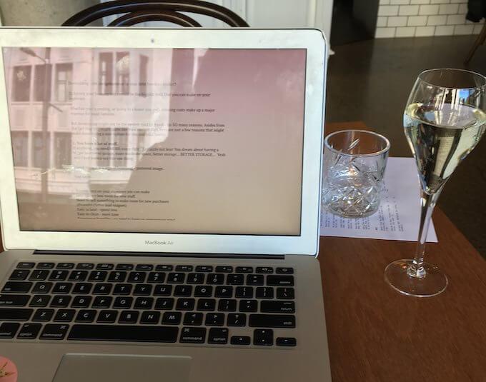 Blogging with a prosecco.