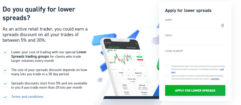 XTB Trading Lower Spreads Offer - 3 step application