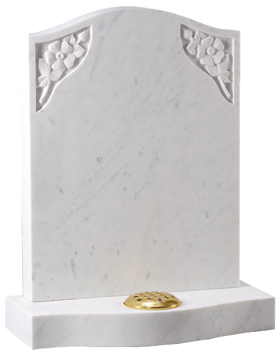 Marble Headstone with Corner Roses
