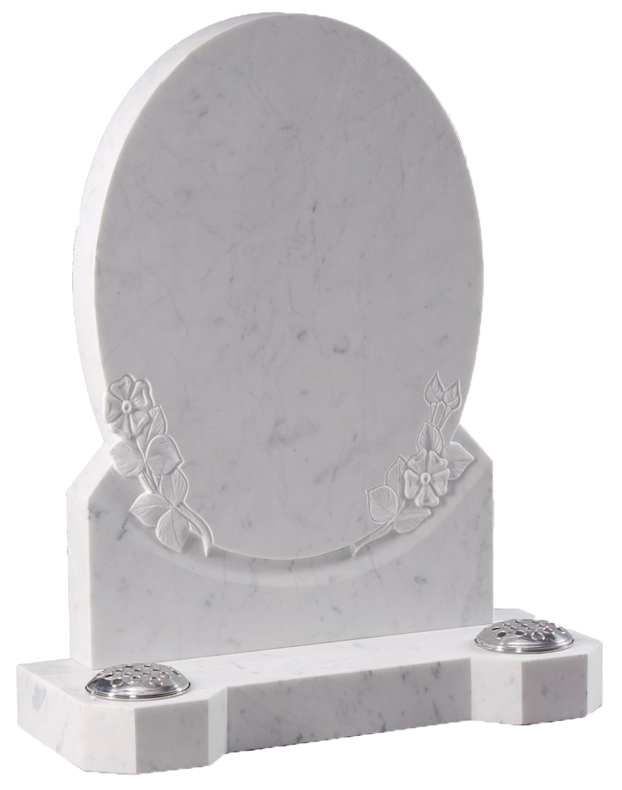 Italian White Marble Oval Headstone