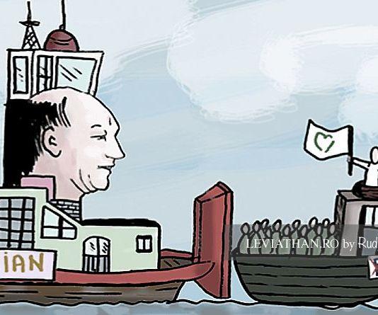 Împingătorul Traian propulsând șalupa Mișcarea Populară