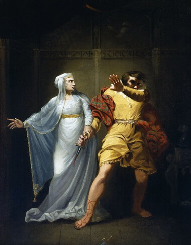 Sarah Siddons as Lady Macbeth. Oil painting by Robert Smirke ca. 1790