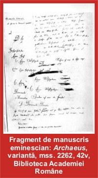 fragment de manuscris-eminescu-archaeus BAR