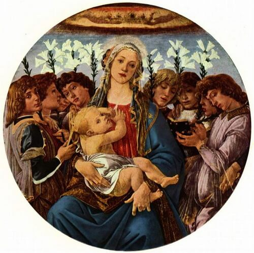 Botticelli madonna-with-child-and-singing-angels Gemäldegalerie, Berlin, Germany c 1477