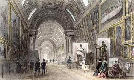 Luvru, Marea Galerie, gravură de Wilmann după un desen de Arnoux, c. 1860