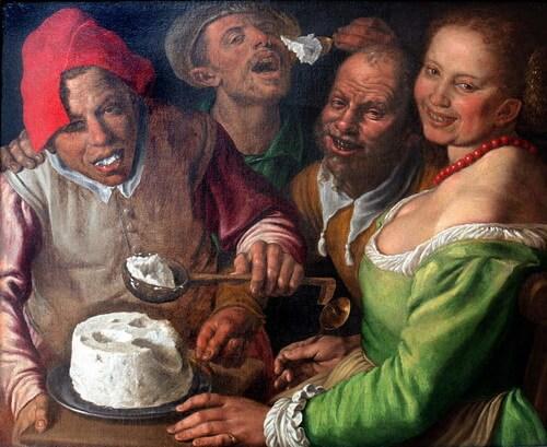 """Vincenzo Campi,""""Mâncători de brânză de vaci"""", c. 1580"""