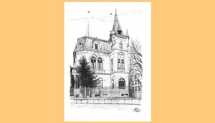 Societatea de Difuziune Radiotelefonică din România (numele de până în 15 august 1936 al Radioului românesc) – clădirea veche Radio din str. G-ral Berthelot nr. 60. Desen de Bogdan Calciu