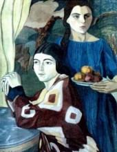 """""""Două surori, 1925. Lucrare expusă în colecția """"EGAL. Artă și feminism în România modernă"""", Muzeul Național de Artă al României"""