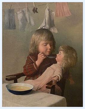 "Heinrich Schönhauser, ""Copil hrănindu-și păpușa"", 1904"