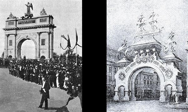 Arcul de Triumf din București (1878, stânga) și 1919. Sursa foto: Credo design
