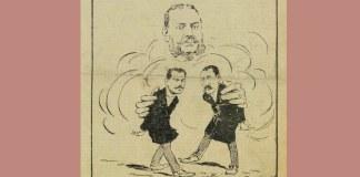 """Caricatură din """"Moftul român"""", director: I. L. Caragiale, seria a II-a, nr. 12, duminică, 17 iunie 1901, p. 1"""