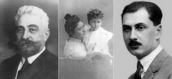 Ion. I. C. Brătianu, Prinţesa Maria Moruzi cu fiul lor şi Gheorghe I. Brătianu la maturitate. Sursa: Victor Roncea blog