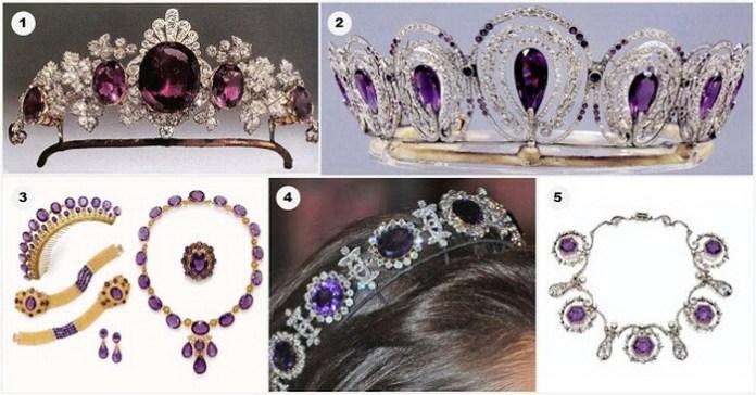 Ametist: 1. Tiară cu cele mai frumoase ametiste (Tavistock) din Marea Britanie, aparținând familiei Bedford; 2. Tiară cu ametiste; 3. Tiară cu ametiste (1880); 4. Tiară cu ametiste purtată de Regina Josephine (Suedia); 5. Un colier de ametist purtat și ca tiară, aparținând Reginei Alexandra. Sursa: Order of Splendor / http://alexandra-coman.squarespace.com/cristale/ametist-cristalul-spiritualitatii