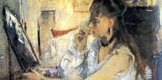 """Berthe Morisot, """"Tânără pudrându-se,"""" 1877"""