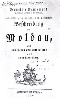 """Ediţia germană a """"Descrierii Moldovei"""", Frankfurt şi Leipzig, 1771"""