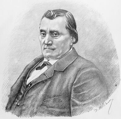 """Matei Millo, portret de D. William, București 1881 Millo – Biblioteca Județeană, """"V. A. Urechia"""", Galați"""