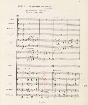 """Pagină din partitura operei """"Pelléas și Mélisande"""" de Claude Debussy"""