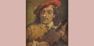 Singura reprezentare picturală a lui Giuseppe Guarneri del Gesù. Sursa: http://paganininiccolo.blogspot.com/p/il-violino.html